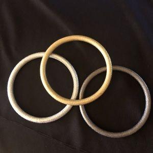 Gold, Silver & Pewter Trio Bangle Bracelet set